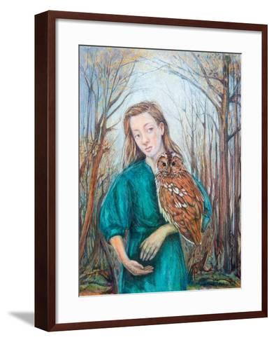 Girl with Owl, 2012-Silvia Pastore-Framed Art Print