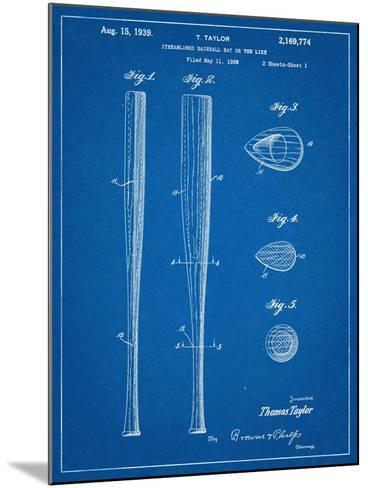 Baseball Bat Patent 1938--Mounted Art Print