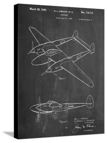 P-38 Airplane Patent--Stretched Canvas Print