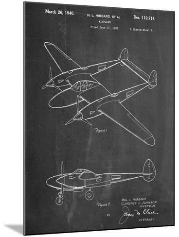 P-38 Airplane Patent--Mounted Art Print