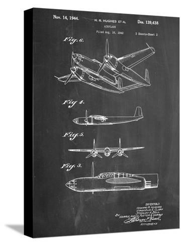 Howard Hughes Airplane Patent--Stretched Canvas Print