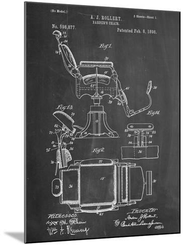 Barber's Chair Patent--Mounted Art Print