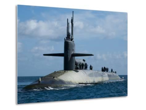 Sailors Aboard the Guided-Missile Submarine USS Georgia--Metal Print