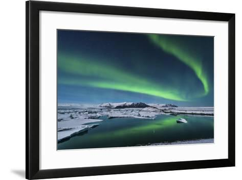The Northern Lights Dance over the Glacier Lagoon in Iceland--Framed Art Print
