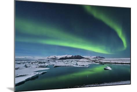 The Northern Lights Dance over the Glacier Lagoon in Iceland--Mounted Photographic Print