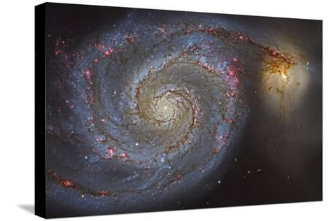 The Whirlpool Galaxy and its Companion Galaxy--Stretched Canvas Print