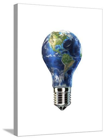 Light Bulb with Planet Earth Inside Glass, Americas View--Stretched Canvas Print