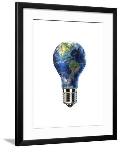 Light Bulb with Planet Earth Inside Glass, Americas View--Framed Art Print