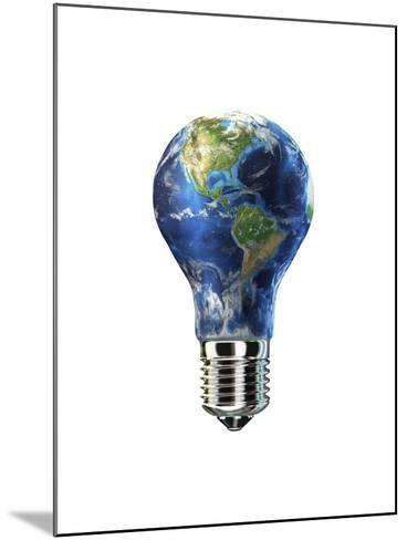 Light Bulb with Planet Earth Inside Glass, Americas View--Mounted Art Print
