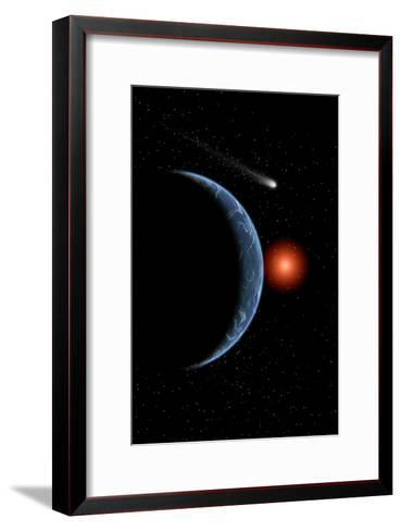 A Comet Passing the Earth on its Journey around the Sun--Framed Art Print