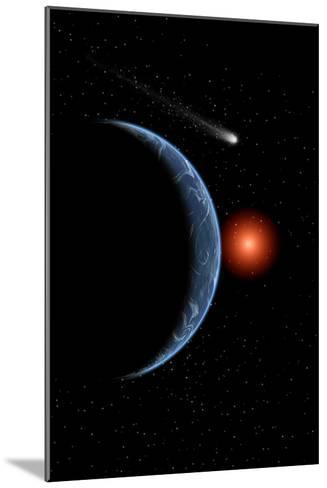 A Comet Passing the Earth on its Journey around the Sun--Mounted Art Print