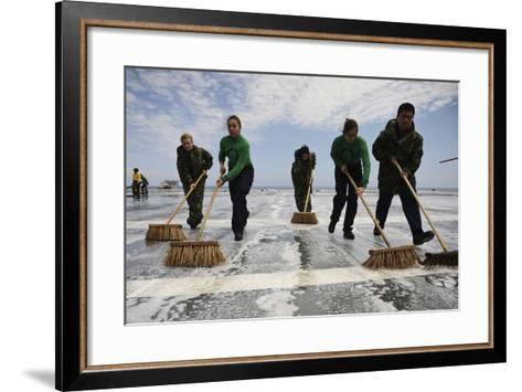 Sailors Scrub the Flight Deck of Aircraft Carrier USS Ronald Reagan--Framed Art Print