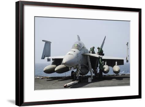 Sailors Perform Maintenance on an F-A-18F Super Hornet--Framed Art Print