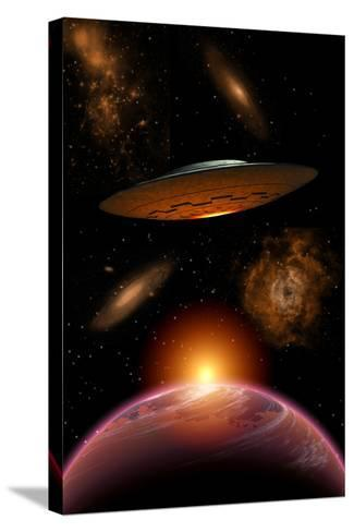 A Ufo on its Journey Through the Vastness of Our Galaxy--Stretched Canvas Print