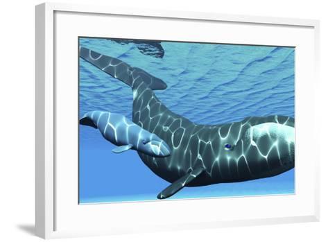 A Female Bowhead Whale Swims with Her Calf Through Ocean Waters--Framed Art Print