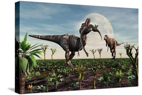 Tyrannosaurus Rex with a Freshly Killed Young Sauropod Dinosaur--Stretched Canvas Print