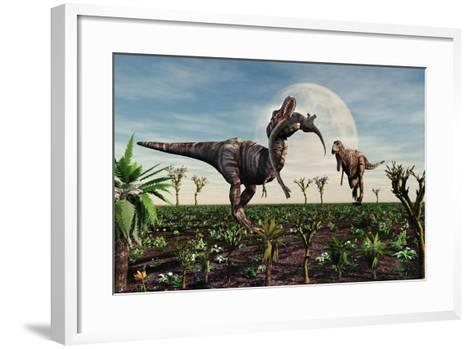 Tyrannosaurus Rex with a Freshly Killed Young Sauropod Dinosaur--Framed Art Print