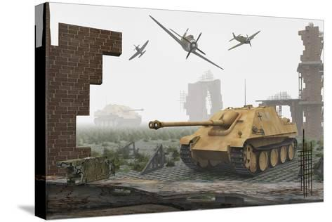 American P-47 Fighter Planes Attacking German Jagdpanther Tanks--Stretched Canvas Print