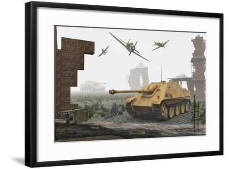 American P-47 Fighter Planes Attacking German Jagdpanther Tanks--Framed Art Print