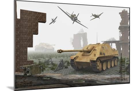 American P-47 Fighter Planes Attacking German Jagdpanther Tanks--Mounted Art Print