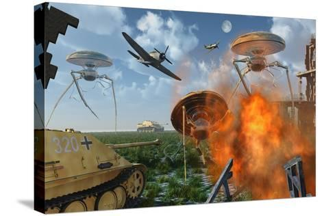 An Alternate Reality Where Allied and German Forces Unite in Fighting an Alien Invasion--Stretched Canvas Print