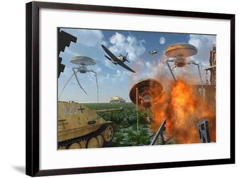 An Alternate Reality Where Allied and German Forces Unite in Fighting an Alien Invasion--Framed Art Print