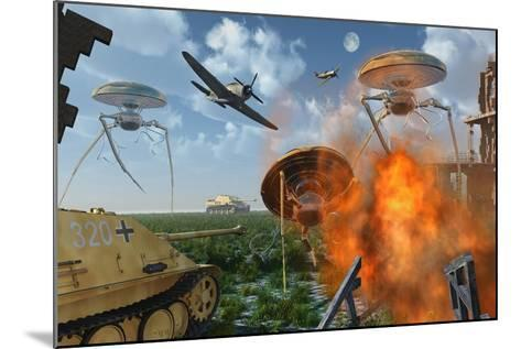 An Alternate Reality Where Allied and German Forces Unite in Fighting an Alien Invasion--Mounted Art Print