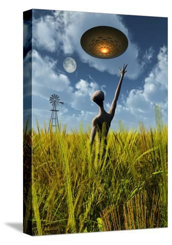 An Alien Being Directing a Ufo in Making Crop Circles--Stretched Canvas Print