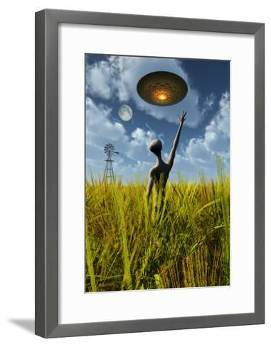 An Alien Being Directing a Ufo in Making Crop Circles--Framed Art Print