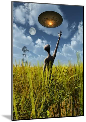 An Alien Being Directing a Ufo in Making Crop Circles--Mounted Art Print