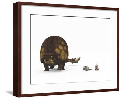 A Doedicurus Glyptodont Compared to Modern Armadillos--Framed Art Print