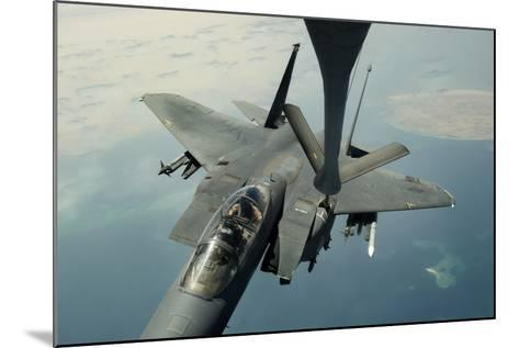 An F-15E Strike Eagle Receives Fuel from a Kc-135R Stratotanker--Mounted Photographic Print