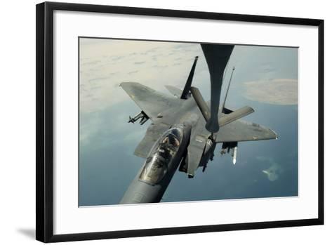 An F-15E Strike Eagle Receives Fuel from a Kc-135R Stratotanker--Framed Art Print
