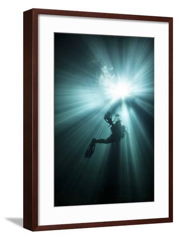 A Scuba Diver Ascends into the Light Emanating Above--Framed Art Print