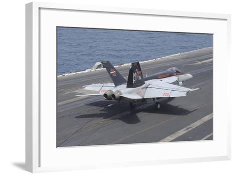 An F-A-18E Super Hornet Lands on the Flight Deck of USS Nimitz--Framed Art Print