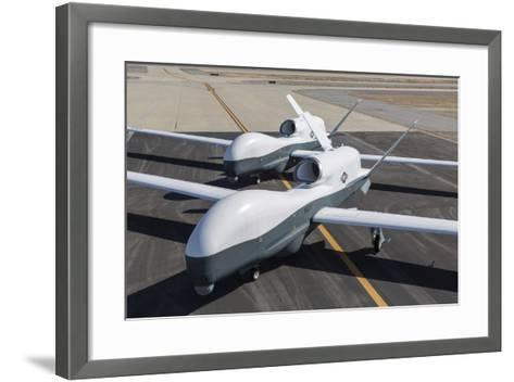 Two Mq-4C Triton Unmanned Aerial Vehicles on the Tarmac--Framed Art Print