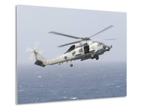 An Mh-60R Sea Hawk Helicopter Prepares to Land--Metal Print