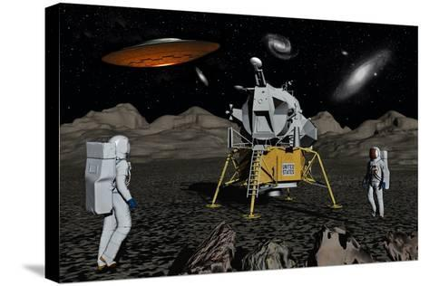 Apollo Astronauts Coming into Contact with an Alien Ufo While on the Moon--Stretched Canvas Print