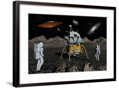 Apollo Astronauts Coming into Contact with an Alien Ufo While on the Moon--Framed Art Print