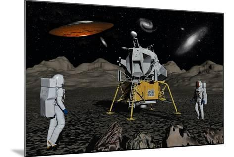 Apollo Astronauts Coming into Contact with an Alien Ufo While on the Moon--Mounted Art Print