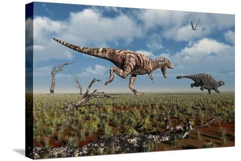 A Tyrannosaurus Rex Giving Chase to an Ankylosaurus--Stretched Canvas Print