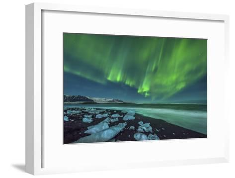 Aurora Borealis over the Ice Beach Near Jokulsarlon, Iceland--Framed Art Print