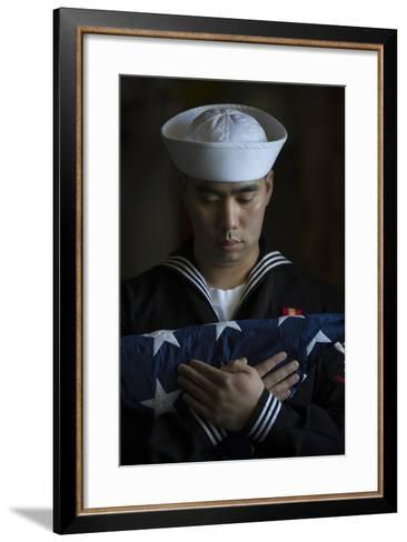 Damage Controlman Bears the American Flag--Framed Art Print