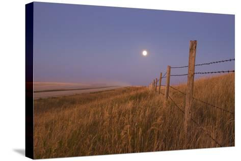 Harvest Moon Down the Road, Gleichen, Alberta, Canada--Stretched Canvas Print