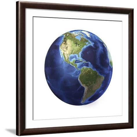 3D Rendering of Planet Earth, Centered on North America and South America--Framed Art Print