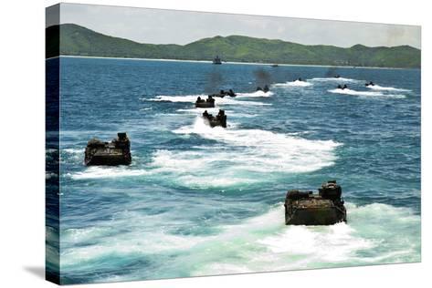 Amphibious Assault Vehicles Approach Hat Yao Beach, Thailand--Stretched Canvas Print