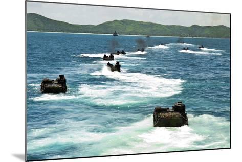Amphibious Assault Vehicles Approach Hat Yao Beach, Thailand--Mounted Photographic Print