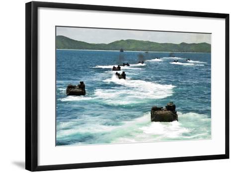 Amphibious Assault Vehicles Approach Hat Yao Beach, Thailand--Framed Art Print