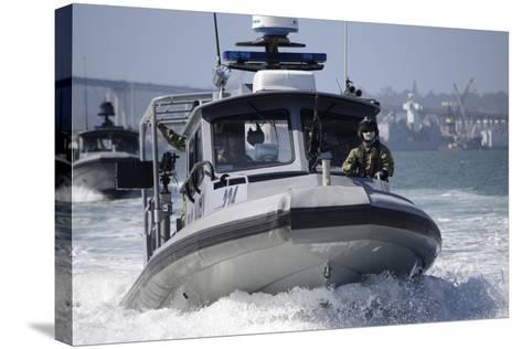 Sailors Conduct Training in Small Boat Defensive Tactics in San Diego Bay--Stretched Canvas Print