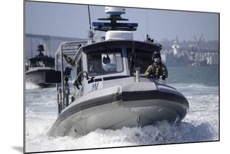 Sailors Conduct Training in Small Boat Defensive Tactics in San Diego Bay--Mounted Photographic Print
